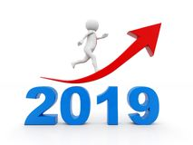 Business man running on 2019, Business Success Concept. 3D illustration. Business graph with arrow up and 2019, represents growth in the new year 2019, business vector illustration