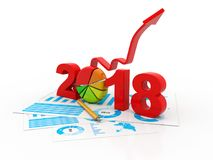 Business graph with arrow up and 2018 symbol, represents growth in the new year 2018. 2018 business success year concept royalty free illustration