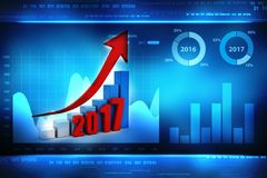 3d illustration of Business graph with arrow up and 2017. Business graph with arrow up and 2017 symbol, represents growth in the new year 2017, three-dimensional Royalty Free Stock Images
