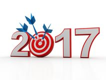 3d renderer image. New Year 2017 isolated on white background. Business graph with arrow up and 2017 symbol, represents growth in the new year 2017, three Royalty Free Stock Images