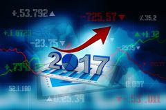 3d renderer image. New Year 2017 isolated on white background. Business graph with arrow up and 2017 symbol, represents growth in the new year 2017, three Stock Photo