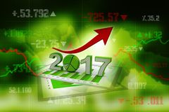3d renderer image. New Year 2017 isolated on white background. Business graph with arrow up and 2017 symbol, represents growth in the new year 2017, three Royalty Free Stock Photos