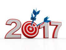 3d renderer image. New Year 2017 isolated on white background. Business graph with arrow up and 2017 symbol, represents growth in the new year 2017, three Royalty Free Stock Photo