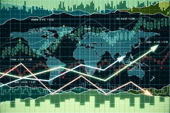 Business graph with arrows and world map Stock Photography