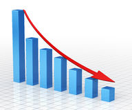 Business Graph Bar. 3d render Business Graph Bar moving down(close-up Stock Image