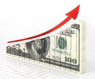 Business Graph Bar. 3d render Business Graph dollar Bar moving up (close-up Stock Image