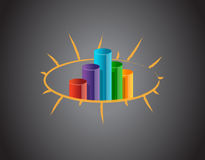 Business graph on a blackboard Royalty Free Stock Images