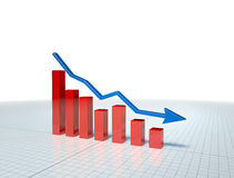 Business Graph with blue arrow. Business Graph with arrow showing profits and gains Stock Photos