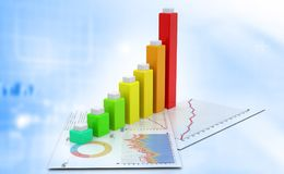 Business graph. Financial background. 3d illustration Stock Photos