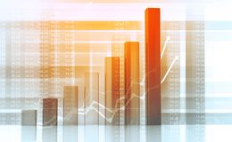 Business graph. Financial growth chart . 3d illustration Stock Photo