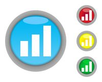 Business graph buttons. Set of increasing business graph buttons isolated on white background Royalty Free Stock Image