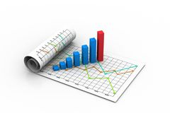 Business graph with chart. 3d illustration of Business graph with chart Stock Photo