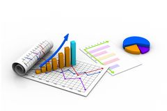 Business graph with chart. 3d illustration of Business graph with chart Stock Photography