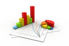 Business graph with chart. 3d illustration of Business graph with chart Stock Image