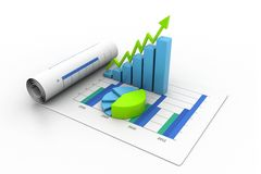 Business graph with chart. 3d illustration of Business graph with chart Royalty Free Stock Photography