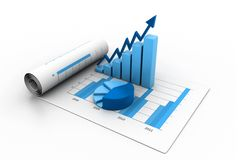 Business graph with chart. 3d illustration of Business graph with chart Stock Images