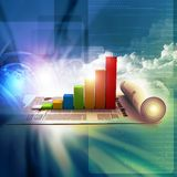 Business graph and chart. In abstract background Stock Images