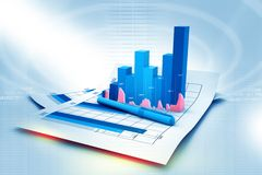Business graph on chart. In abstract background Stock Photography