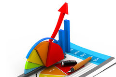 Business graph  and chart. 3d Business graph  and chart Royalty Free Stock Image