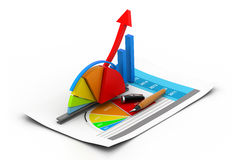Business graph  and chart. 3d Business graph  and chart Stock Images