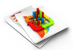 Business graph and chart. 3d illustration of Business graph and chart Stock Images