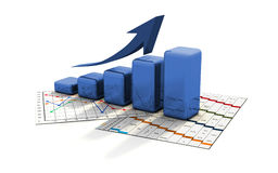 Business graph, chart, diagram, bar Stock Images