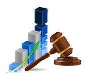 Business graph chart and gavel Stock Photography
