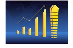 Business graph chart growth trending 2. Business graph chart growth trending, perspective style, with world map background. Vector illustration strategies Stock Images