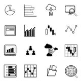 Business graph and chart icons set vector illustration Royalty Free Stock Photos