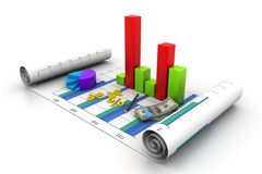 Business graph chart and money. 3d illustration of Business graph chart and money Stock Photo