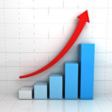 Business graph chart with red rising arrow. Over white background with reflection Stock Photo
