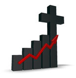 Business graph with christian cross Stock Image