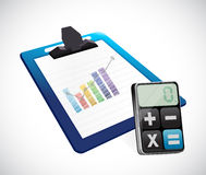 Business graph on a clipboard and calculator Stock Photos