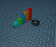 Business graph and cogwheel Royalty Free Stock Photo
