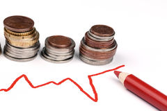 Business graph and coins Stock Photos