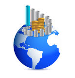 Business graph with coins over world globe. Illustration Royalty Free Stock Photos