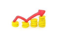 Business graph coins plasticine Stock Photo
