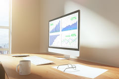Business graph on computer screen with cup of coffee and other a Royalty Free Stock Photos