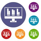 Business graph at computer screen icons set. In flat circle red, blue and green color for web Royalty Free Stock Images