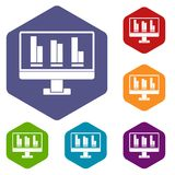 Business graph at computer screen icons set. Hexagon isolated vector illustration Stock Photo