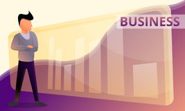 Business graph concept banner, cartoon style vector illustration