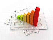 Business graph concept 3d illustration Royalty Free Stock Photos