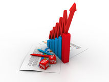 Business graph. 3d business graph and documents Royalty Free Stock Photo