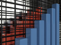 Business graph, 3D. Business graph on glass background, 3D Royalty Free Stock Photo