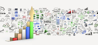 Business graph 3d and hand drawn business strategy Royalty Free Stock Photos