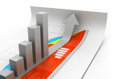 Business graph. 3d illustration of Business graph Royalty Free Stock Photos