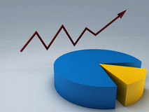 Business graph. 3D business graph with red arrow up Stock Images