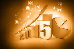 Business graph of 2015. 3d render of business graph of 2015 stock illustration