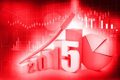 Business graph  of 2015. 3d render of business graph  of 2015 Stock Photo