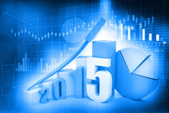 Business graph of 2015. 3d render of business graph of 2015 vector illustration